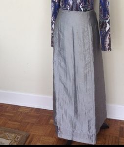Free People   Metallic Silver Wrap Skirt